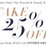 Get 25% Off Coupon Code for Shopbop's Friends & Family Event